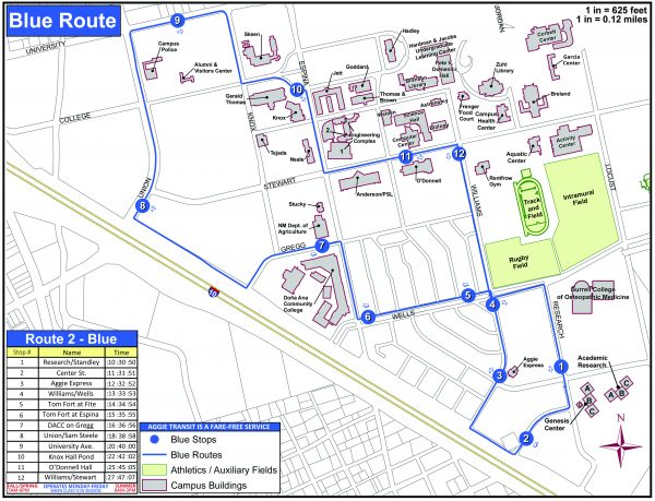 Blue Route has stops at Research and Standley, Center Street, Aggie Express, Williams and Wells, Tom Fort at Fite and Espina, DACC, Union and Sam Steele, University Avenue, Knox Hall, O'Donnell and Williams and Stewart